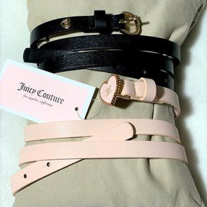 Juicy Couture  2 Pack Pink and Black Skinny Belts
